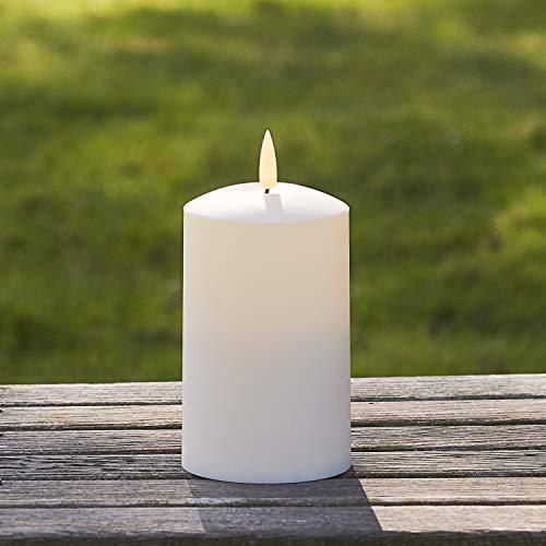 Lights4fun Medium TruGlow Outdoor Flameless Pillar Candle Battery LED 12.5cm with Timer