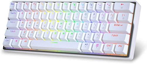 KEMOVE ゲーミングキーボード Bluetooth 5.1 無線 / 有線 ホットスワップ可能 メカニカルキーボード PBTダブルショット キーキャップ 61キー プログラム可能 3000 mAhバッテリー 内蔵 60%キーボード 20種点灯モード 1600万色 RGBバックライト Windows/Mac OS にサポート ソフトウェア付き ホワイト (Gateron メカニカル 青軸)