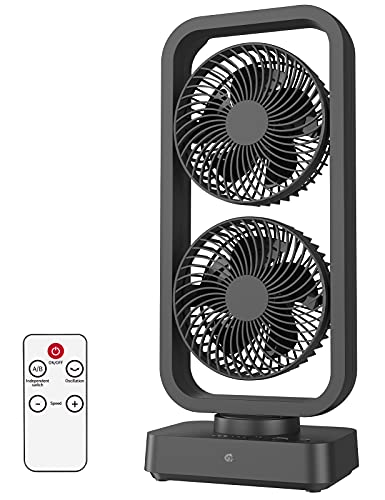 10000mAh Battery Operated Oscillating Fan with Remote, 16Inch Cordless Rechargeable Camping Fan For Air Circulation, Last 6-12 Hours, 10W Fast Charging, 3 Speeds, Portable For Home Outdoor, Black