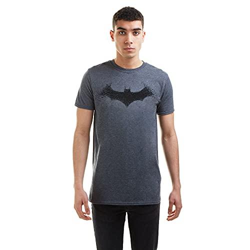 DC Comics Batman-Bat Logo Camiseta, Gris (Dark Heather Dkh), Large para Hombre