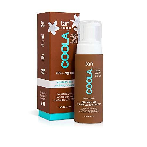 COOLA Organic Sunless Tanning Lotion, Self Tan Express Body Mousse, Piña Colada, 7 Fl Oz