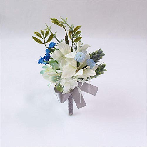 Bruidegom Lapel Pin Bruid Corsage Wit Blauw Rose Armband Bruiloft Party Persoonlijke Bloemen Decor Broches