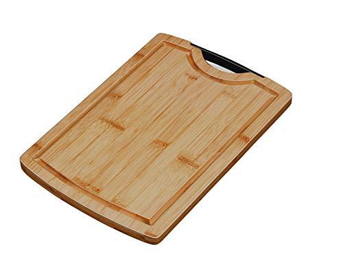 Smile Planche à Découper et à Servir en Bambou Massif 30 x 40 cm Large avec Rigole de Récupération de Jus et Poignée (1, L)