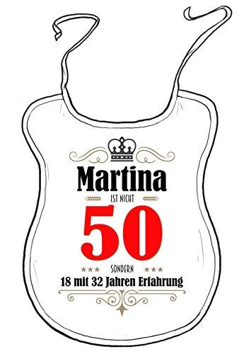 die stadtmeister Latz für Erwachsene zum 50. Geburtstag/mit Wunschnamen/z.B. Martina (BZW. Wunschname) ist Nicht 50 - sondern 18 mit 32 Jahren Erfahrung