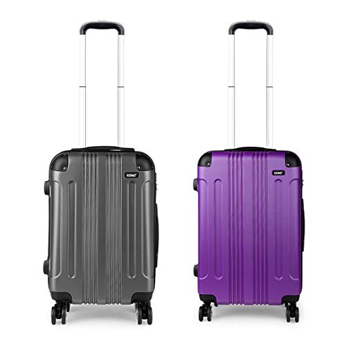 Kono Luggage Set of 2 Hard ABS Suitcase Lightweight Carry-on Travel Trolley with Four 360° Wheels (Grey+Purple)