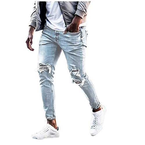 Mens Ripped Skinny Fashion Jeans Casual Mid-wasit Slim Fit Destroyed Distressed Denim Pants With Pocket (Blue, S)
