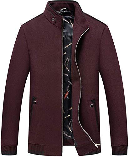 LOOPIG Men's Casual Stand Collar Full Zip Business Wool Blend Bomber Jacket Dark Red