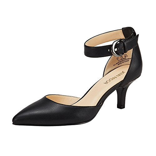 JENN ARDOR Women's Kitten Heel Pumps Ladies Closed Pointed Toe D'Orsay Sandals Ankle Strap Leather Dress Stiletto Black 7 (9.4in)