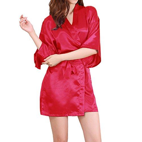 Sidiou Group Peignoir Satin Robe de Chambre Kimono Femme Sortie de Bain Nuisette Déshabillé Vêtements de Nuit Femme Satin Lingerie Dentelle Peignoir Robes de Mariée (XL, Style 2-Rouge)