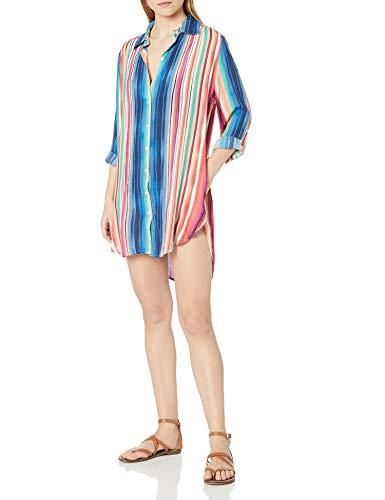 La Blanca Women's Button Up Shirt Dress Swimsuit Cover Up, Multi//Solar Stripe, S