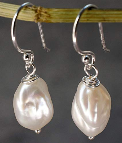 Ohrringe mit Süßwasserperlen Barock - Silber 925 Sterling - Natur Ohrhänger Hängend - Vintage