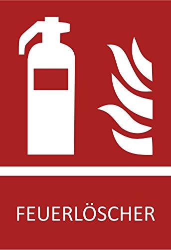 10 Feuerlöscher Aufkleber Symbol,10,5 x 14,8 cm Brandschutzzeichen, Schild (wetterfest), Aussenklebend, Hinweis, Piktogramm, Feuerlöscherkasten für Haus, Büro und LKW