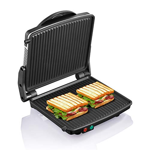 Yabano Panini Press Grill, Sandwich Maker and Bread Toaster Non-Stick Coated Plates 11' x 9.8', Opens 180 Degrees to Fit Any Type or Size of Food, Stainless Steel Surface and Removable Drip Tray, 4 Slice
