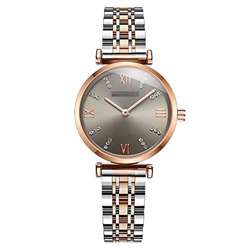 BBZZ Reloj de Cuarzo clásico analógico de Damas con números Romanos de Diamante con Correa de Acero Inoxidable,Gris