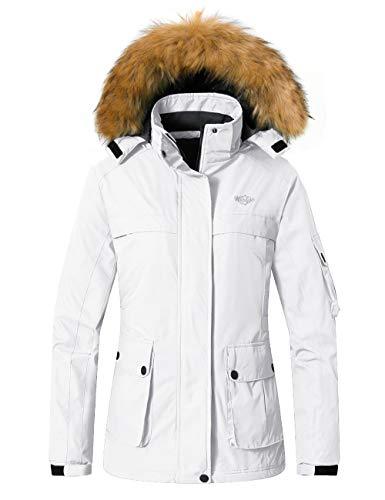 Wantdo Women's Windproof Skiing Jacket Mountain Snowboarding Jackets Insulated Winter Snow Coat White XL