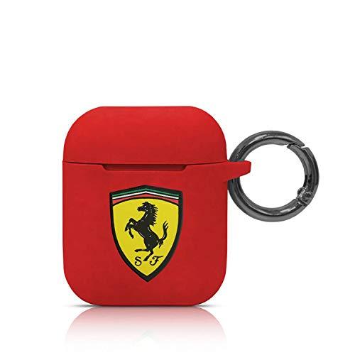 CG MOBILE Scuderia Ferrari Airpods-Hülle aus Silikon für AirPods 1/2 – stylischer Schlüsselanhänger, Rot