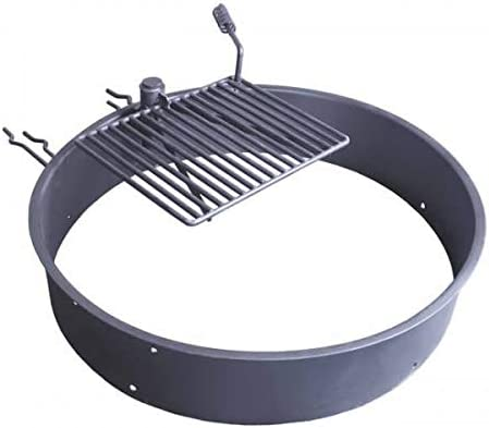 """TITAN GREAT OUTDOORS Steel Fire Ring with Grate, Heavy-Duty Fire Pit and Grill for Camping (36"""")"""