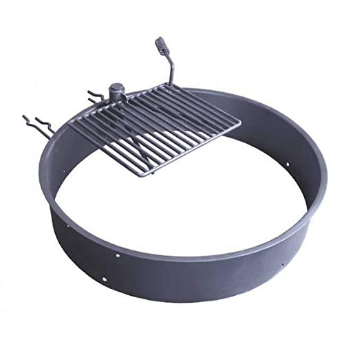 TITAN GREAT OUTDOORS Steel Fire Ring with Grate, Heavy-Duty Fire Pit and Grill for Camping (36')
