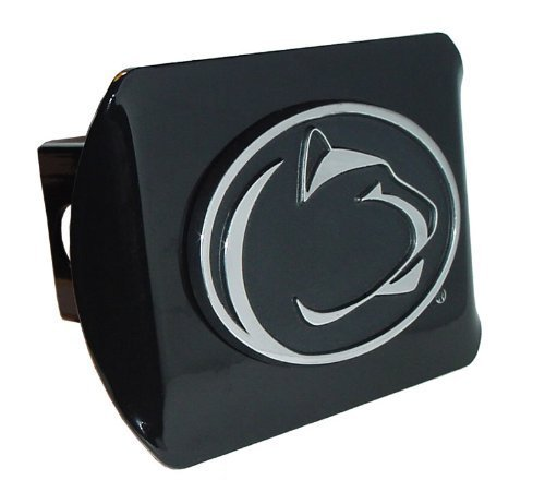 Elektroplate Penn State Nittany Lions Black Metal Trailer Hitch Cover with Chrome Metal Logo