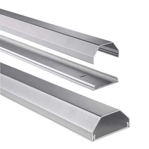 Hama Stabiler Kabelkanal aus Aluminium silber (1,1 Meter Länge, für 8 Kabel, robuste eckige Metall Kabelabdeckung)