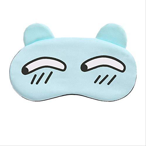 FSYX Mascarilla Dibujos Animados Cara Sueño Gafas Lindo Ojo Máscara Sueño Viaje De Descanso Ojo Parche China Truco azul claro
