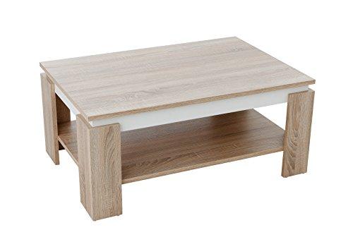 Couchtisch Tim II, Holzwerkstoff, sonoma/weiß, 90x60x41 cm