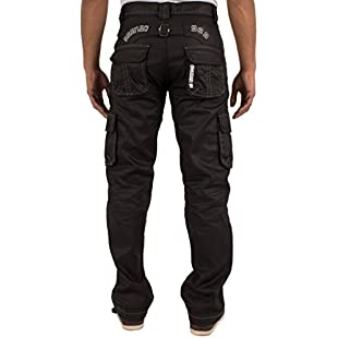Ze ENZO New Enzo Mens Designer Cargo Combat Blue Coated Denim Jeans Pants All Waist Size Black Coated 42 W X 30L