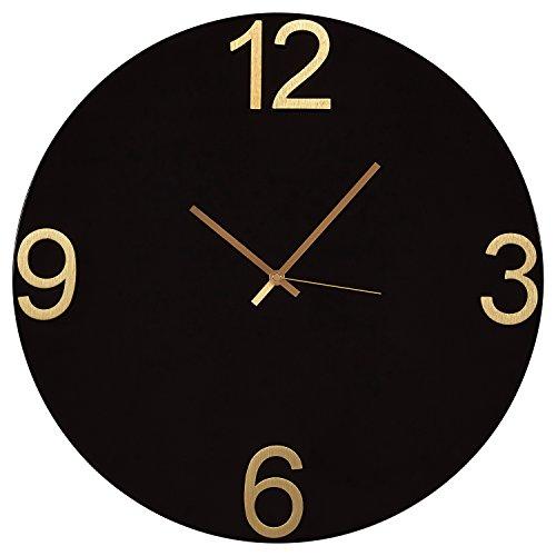 Amazon Brand – Rivet Modern Clock, 18'H, Black/Brass