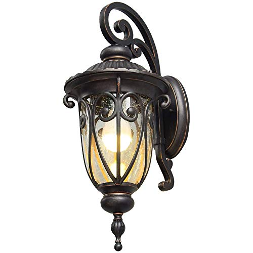 FFXZL American Outdoor Porch Light With Wall Mount Antique Bronze Wall Lantern E26 Exterior Wall Sconce IP44 Waterproof For Gate Courtyard Lights