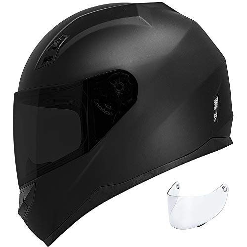 GDM DK-140 Motorcycle Helmet Full Face (Matte Black, Tinted & Clear Shields, XX-Large)