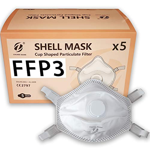 5X FFP3 Atemschutzmasken, gesichtsschutzmasken mit ventil, CE Zertifiziert, Packung mit 5 Masken