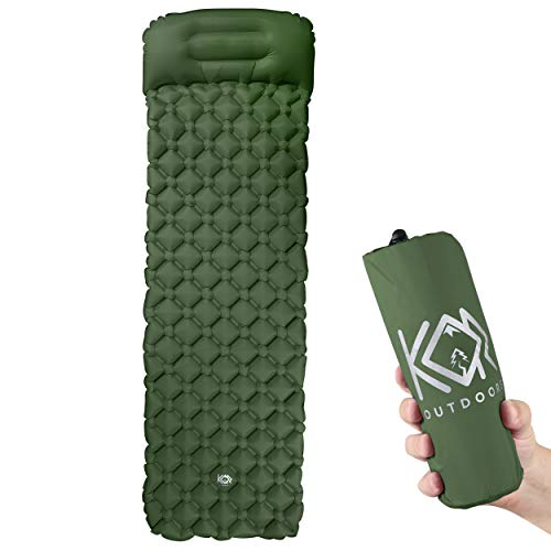 Inflatable Camping Sleeping Pad Mattress with Pillow - Green