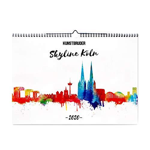 Wandkalender Kölner Skyline Kalender 2020 - Cologne - Kunstkalender in A4 Querformat mit den schönsten Skylines von Köln Jahreskalender deutsche Stadt Städte City/fertig zum aufhängen