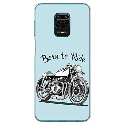 BJJ SHOP Transparent Hülle für [ Xiaomi Redmi Note 9s / Xiaomi Redmi Note 9 Pro ], Klar Flexible Silikonhülle, Design: Motorrad Klassiker Caferacer, Born to Ride