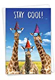 NobleWorks, Cool Giraffes - Funny Birthday Card with Envelope - Colorful Greeting Card for Kids, Boy, Girl - Zoo Animal Congratulations C6335BDG