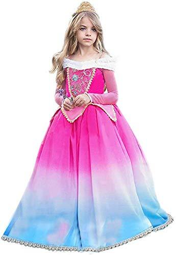 OBEEII Dornröschen Aurora Kostüm Sleeping Beauty Prinzessin Kleid Rheinischen Karneval Faschingsdienstag Estomihi Cosplay Costume 7-8 Jahre