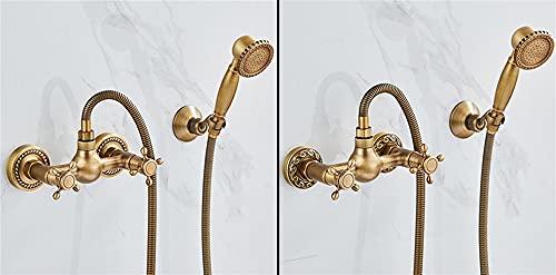 AXWT Vintage Retro Home H59 Brass Take A Ducha Cuarto de baño Faucet Válvula de Mezcla Caliente y fría Simple Single Manija Traje de Ducha 4 Puntos Interfaz 2 Funciones Doble Manija (Color : Luxury)
