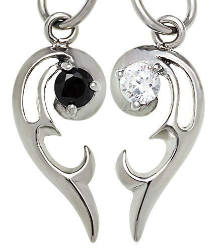 spe0336-pair-BlackWhite [ブランド名:2PIECES]ペアネックレス ハート ステンレス BOX付きペアセット(ブラック&ホワイト)