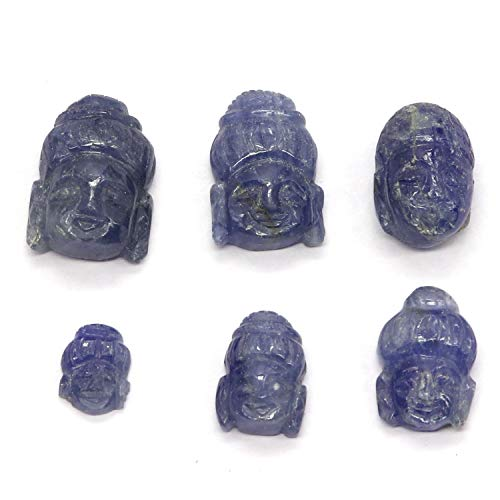 Natural Blue Sapphire Carved Buddha Face Top Quality Gemstone 6 Piece 39.50 Carats