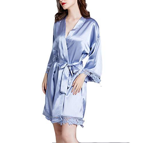SZTB Pijamas Pijamas para Mujer Primavera y Verano con Mangas largas Tallas Grandes de Seda Albornoces caseros Albornoces de Dama de Honor,01,L