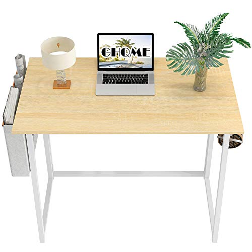 GHQME Folding Desk 31.5' with Storage Bag Laptop Desk Home Office Desk Study Writing Desk No-Assembly Small Space (Natural&White-Bag)