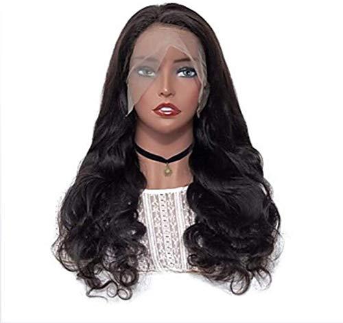 Glueless Lace Front Wig, Style Latéral Cheveux Brésiliens Naturels Ondulés Perruque Noire 150% Densité Dames Dames Perruque De Cheveux Longs,24 inches