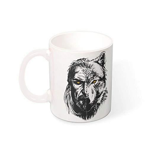 Taza de café Viking Warrior Wolf de primera clase de cerámica retro divertida – Taza de cerámica para oficina blanca 330 ml