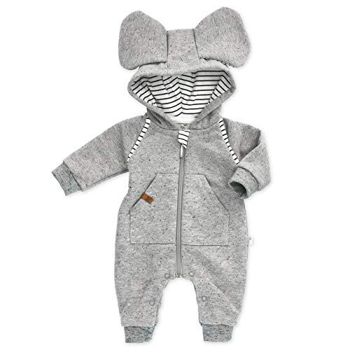 Koala Baby Strampler Overall Baby Neutral/Jumpsuit Baby Jungen als Baby Strampler ohne Füße in Hellgrau mit Ohren & Kapuze/Hasen Overall Baby Neugeborene & Kleinkinder/Gr. 56 (Newborn)