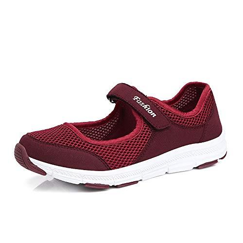 Fangace Sommer Laufschuhe Outdoor Fitness Schuhe Damen Leicht Walking Schuhe Atmungsaktiv Turnschuhe mit Klettverschluss Größe 35-42