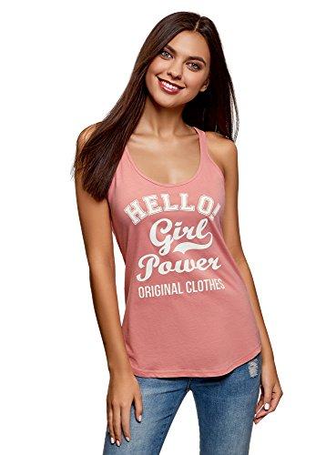 oodji Ultra Mujer Camiseta de Tirantes de Algodón con Inscripción, Rosa, ES 40 / M
