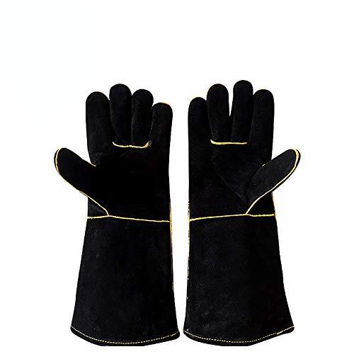 Küchenhandschuhe für Herren/Damen, hitze- und feuerbeständige Handschuhe aus Leder mit Nähten, Feuerhandschuhe für Holzbrenner, perfekt für Kamin, Herd, Backofen,Grill,Schweißen, BBQ, Topflappen, L