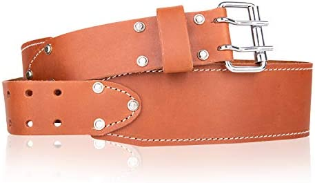 LAUTUS 3 Inch Tapered Work Belt in Heavy Oiled Tanned Leather 32 Inch to 46 Inch Brown product image