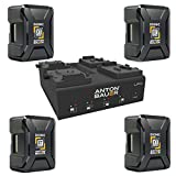 Anton Bauer 4 Pack Dionic XT150 156Wh V-Mount Lithium-Ion Battery LP4 Low Profile Quad V-Mount Battery PowerCharger with LED Display