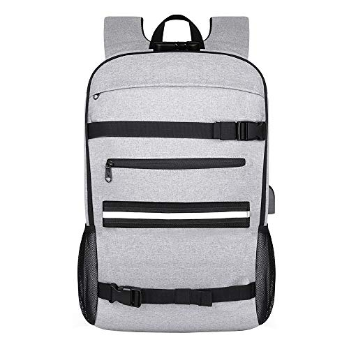 Skateboard Backpack, [2020 Upgrade Vision] Laptop Backpack Rucksack with USB Charging Port, Anti-Theft Lock, Water Resistant, Fits to 15.6-17 Inch Laptop, for College School Business Travel